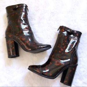 NEW Tory Burch Tortoise Patent Leather Heel Boots